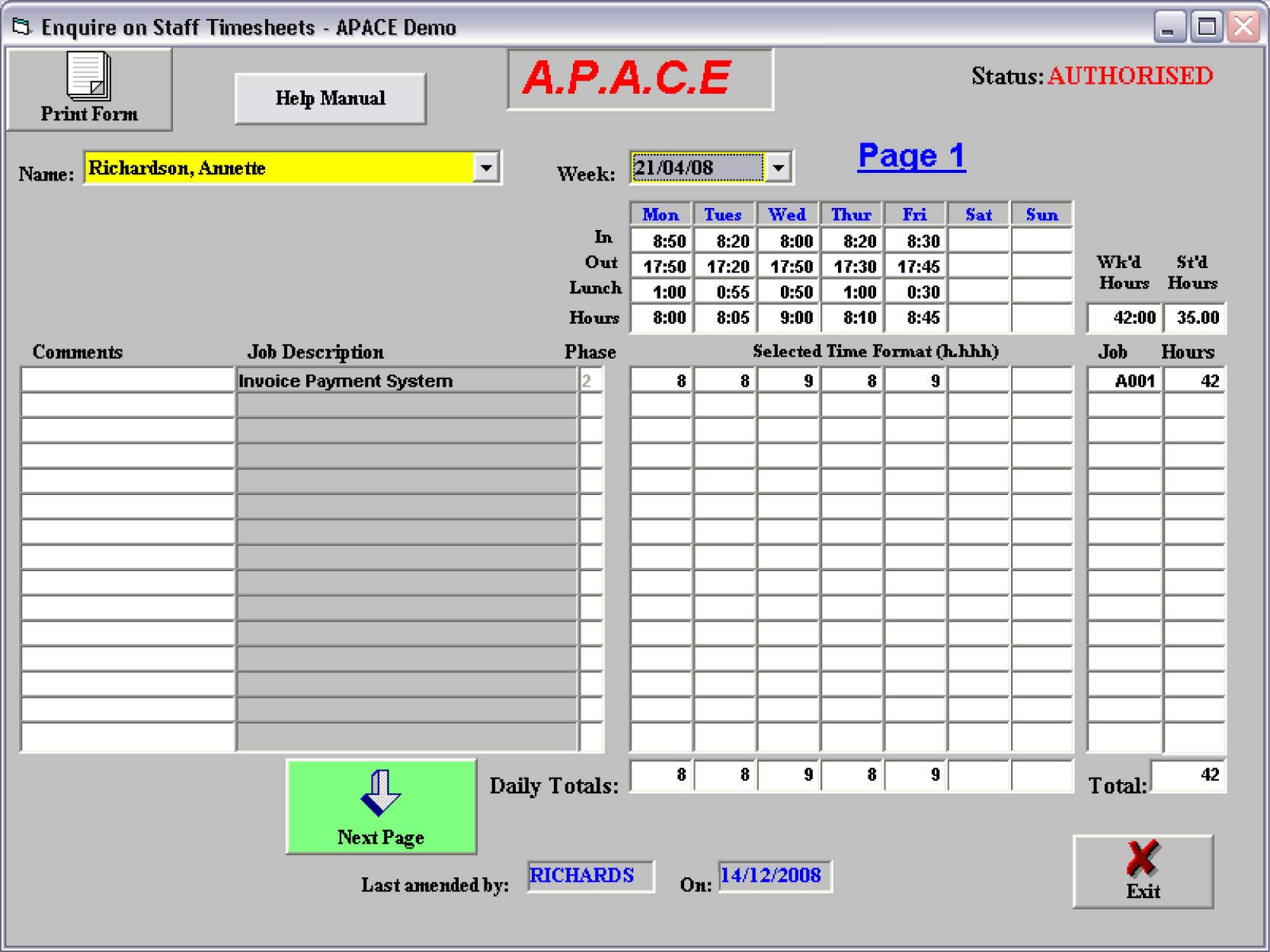 Apace Audit Software Time Sheet Control Screen With Sample Data  Microsoft Templates Timesheet
