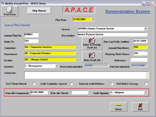 apace audit software annual plan screen with sample data