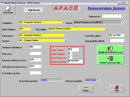 apace audit software planning model sample