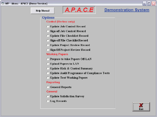 apace audit software, management and control environment sample screen.